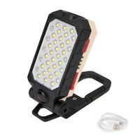 USB Rechargeable LED Work Light Magnetic Folding Flashlight Camping Torch Lamp