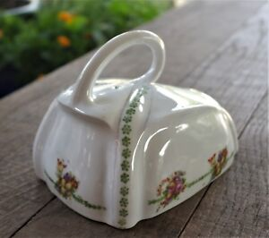 ANTIQUE FLORAL ENGLISH CHINA CHEESE OR BUTTER DISH LID WITH LOOPED HANDLE