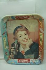 VINTAGE COKE TRAY COCA COLA 1950s MENU GIRL OLD ORIGINAL EXCELLENT SHAPE d