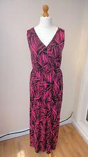 BNWT Hot Pink/Black GEORGE Maxi Stretch Dress Wrap Chest Elast'd Waist Size 10
