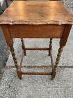 Antique Barley Twist Oak Side Lamp End Table Square Carved Ornate Curved Tiger