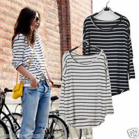 TEE31514 The Staple Striped Slouchy Oversized Uneven Hem Tee T-shirt Long Top