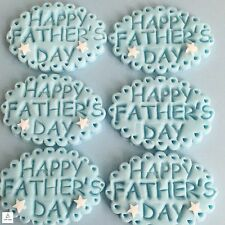 6 Fathers Day Blue Edible Cupcake Toppers Cake Decorations Sugar Embossed plaque