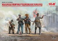 American Civil War Confederate Infantry (4 figures) 1/35 ICM 35021