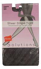 Hanes Control Top Tights Black Opaque Stripe Diamond High Waist NEW Pantyhose