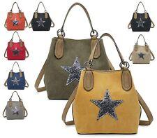 WOMEN CANVAS GLITTER STAR FASHION TOTE HANDBAG SHOPPER CROSSBODY SHOULDER BAG