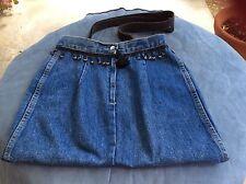 HANDCRAFTED GUESS Jeans Blue Denim Shoulder Tote Bag Travel Shopper