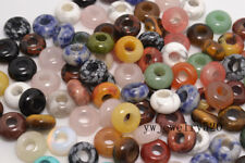 FREE Lots 30ps mixed gemstone Round Loose Beads 5mm Hole Fit European Bracelet