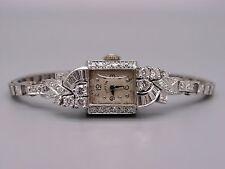 Platinum 14k White Gold 1ct Diamond Hamilton 757 Mechanical Dress Watch 22 Jewel