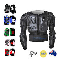 Kids Children Youth Motorcycle Body Armour Jacket Armor Gloves Motorbike Gear AU