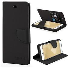 ^ Xiaomi Redmi 4A Book Case CANVAS Cover Hülle Handy Tasche Etui Jeans Schwarz