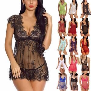 Women Lingerie See Through Mesh Babydoll Dress Thong Sleepwear Nightwear Nightie