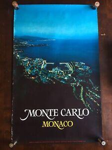 Original Vintage Monte Carlo At Night Monaco Travel Poster 39x24 Draeger
