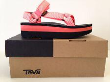 TEVA Womens Flatform Universal Platform Sandal Stripe Coral Size 7 USA