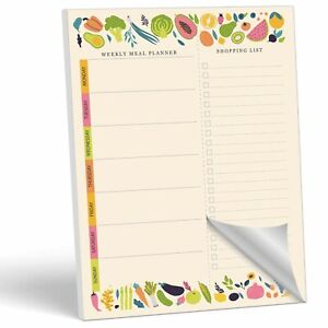 MUDRIT Magnetic Weekly Meal Planner Notepad with Tear Off Grocery Shopping List
