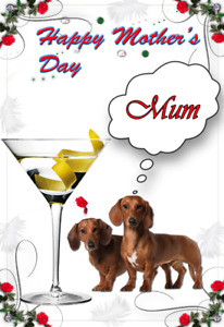 Dachshund Dog Puppy nmd98 Cute Happy Mother's Day Card A5 Personalised Greeting