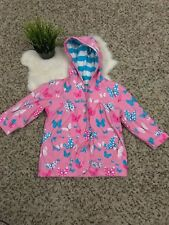 Hattey Girl Hoodie Rain Coat Long Sleeve Butterfly Lined Pockets Snap Up Sz 2