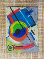 ACEO original pastel painting outsider folk art brut #010267 abstract surreal
