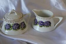 Vintage Creamer & Sugar Bowl Z S & Co Bavaria w/ Purple Violets