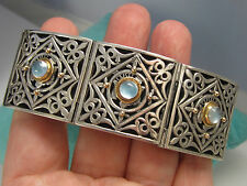 Estate Ornate KONSTANTINO Sterling Silver 18k Gold Aquamarine Panel Bracelet