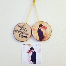 Personalised Photo/Text Printed Circle/ Round Hanging Wood Slice