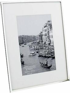 """Impressions narrow silver plated 4"""" x 6"""" photo frame with white mount border"""
