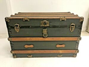 Vintage WOOD STEAMER TRUNK w Tray chest coffee table storage box luggage antique