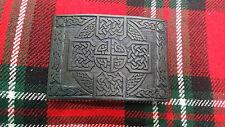 TC Highland Kilt Belt Buckle Cross Knot Work Black Finish/Celtic Kilt Buckle