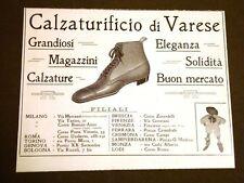 Pubblicità d'epoca del 1911 Per Collezionisti Calzaturificio di Varese Scarpe
