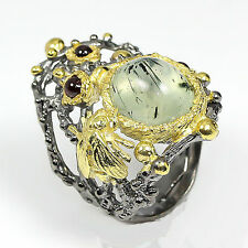 Unique Jewelry Ring Natural Prehnite 925 Sterling Silver Ring Size 6.75