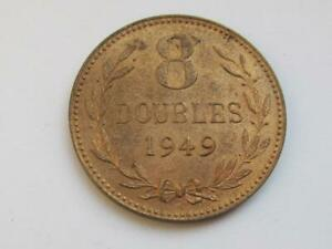 Guernsey 8 Doubles coin dated 1949 - Very good collectable coin with lustre