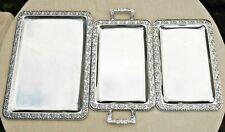 3 Servierplatten Anrichtplatten: 2 á 35 x 24 (1x + Griffe) u. 42 x 31 cm