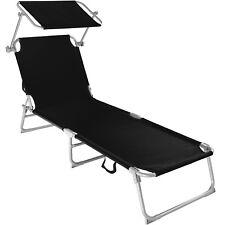 Chaise longue de jardin pliante transat bain de soleil + pare soleil noir