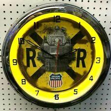 """16"""" Union Pacific Railroad Crossing Sign Neon Clock Rail Road"""