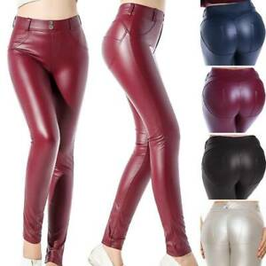 Womens Wet Look Stretchy Yoga Pants Faux Leather Skinny Leggings Pencil Trousers