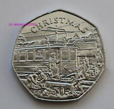 1989 Isola di Man 50p CINQUANTA Pence Coin Natale ELECTRIC Trolley TRAM ** RARO **