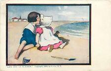 """Dorothy Dixon~Sunbonnet Baby~""""Last Days of Summer""""~Boy Girl & Doll on Beach~Pail"""