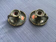 Pair of Cast Iron Finger Candleholders Nappy, tole/folk art painted