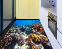 3D Underwater coral reef with a fishes Bathroom Floor Sticker Murals Wallpaper