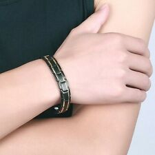 Fashion Health Energy Bracelet Bangle Men 316L Stainless Steel Bio Magnet US