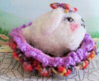 White Bunny Doll / Bed crocheted plush soft crochet rabbit Easter mini ooak