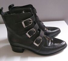 Ladies Womens  Leather Biker   Boots Black Patent Leather Size 5 Lovely Boots