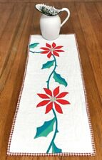 Christmas Holiday! Red Poinsettia Table QUILT Runner Applique Vintage 32 x 12