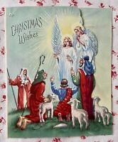 Vintage 1950s Die-Cut Christmas Angels Greeting Card Shepherds Star Bethlehem