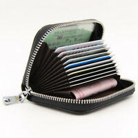 Woman Leather Zip Around Coin Wallet Credit Card Holder Cases RFID Blocking