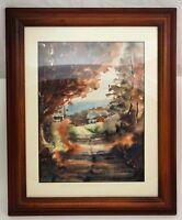 Artist DORTHY HOESCHEN 1975 Landscape Farm Original Painting Framed Signed