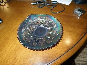 Northwood Carnival Glass Three Fruits Handgrip Plate Amethyst Mint Antiques