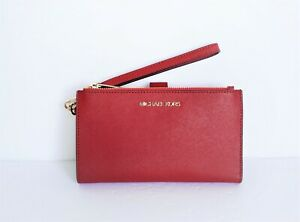 Michael Kors Jet Set Travel Double Zip Leather Phone Wristlet Red Scarlet