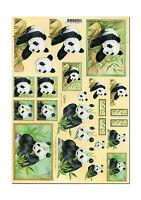 3D Motivbogen Bastelbogen Etappenbogen Grusskarte Panda Pandabären (080)
