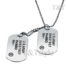 T&T US Army Double DOG TAG Silver (DT42)